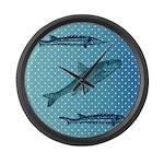 Three Fish Dots Large Wall Clock