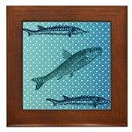 Three Fish Dots Framed Tile