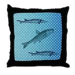 Three Fish Dots Throw Pillow