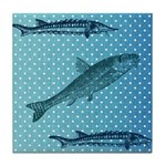 Three Fish Dots Tile Coaster