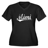 Mimi, Vintage Women's Plus Size V-Neck Dark T-Shir