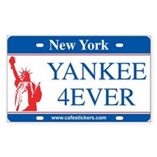 "NY License Plate ""Yankee 4ever"" Decal"
