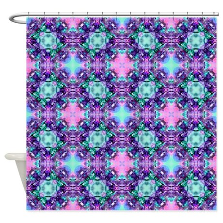 Turquoise Purple Fractal Pattern Shower Curtain By