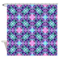 Turquoise Purple Fractal Pattern Shower Curtain