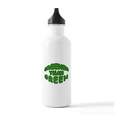 GREENER THAN GREEN fun round green logo Water Bottle