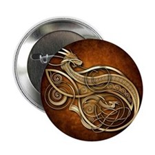 "Gold Norse Dragon 2.25"" Button"