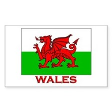 Wales Flag Gear Rectangle Decal