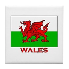 Wales Flag Gear Tile Coaster