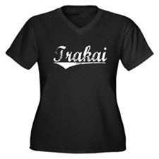 Trakai, Vintage Women's Plus Size V-Neck Dark T-Sh