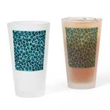 Teal Leopard Print Pattern. Drinking Glass