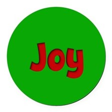 Joy Green and Red Round Car Magnet