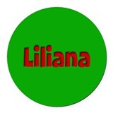 Liliana Green and Red Round Car Magnet