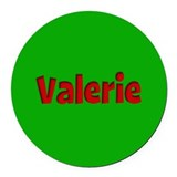 Valerie Green and Red Round Car Magnet