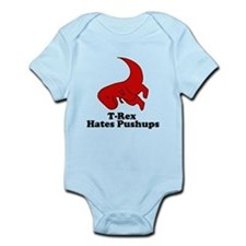 trex hates pushups funny Infant Bodysuit