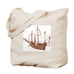 red brown sepia Santa Maria Boat Tote Bag