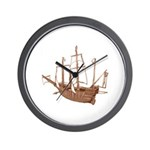red brown sepia Santa Maria Boat Wall Clock