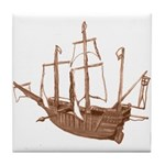 red brown sepia Santa Maria Boat Tile Coaster