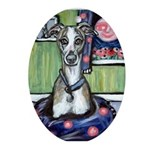 Smiling whippet moon baby girl Ornament (Oval)
