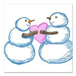 Snow Couple Tugging on a Heart by Kristie Hubler S