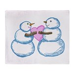 Snow Couple Tugging on a Heart by Kristie Hubler