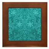 Leather Look Floral Turquoise Framed Tile