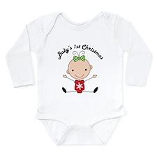 1st Christmas Stick Girl Baby Long Sleeve Infant B
