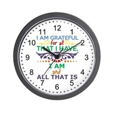 I Am Grateful Wall Clock