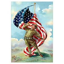 Digitally restored vector war propaganda poster. F