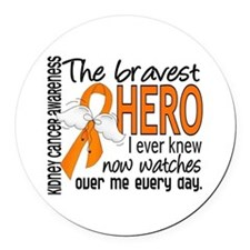 Bravest Hero I Knew Kidney Cancer Round Car Magnet