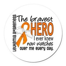 Bravest Hero I Knew Leukemia Round Car Magnet