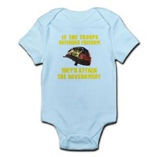 If troops defend freedom Infant Bodysuit