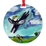 angelblkcat.jpg Round Ornament