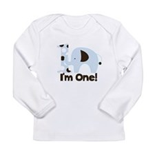 Im ONE Blue elephant Long Sleeve Infant T-Shirt