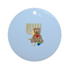 Teddy Bear (dreidel/mennorah) Ornament (Round)