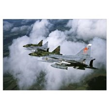 Four Saab 37 Viggen fighters of the Swedish Air Fo