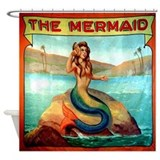Vintage Mermaid Carnival Poster Shower Curtain