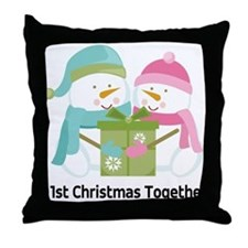 1st Christmas Together Snowmen Throw Pillow