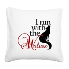 runwithwolves.png Square Canvas Pillow