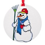 christmas snowman1.png Round Ornament