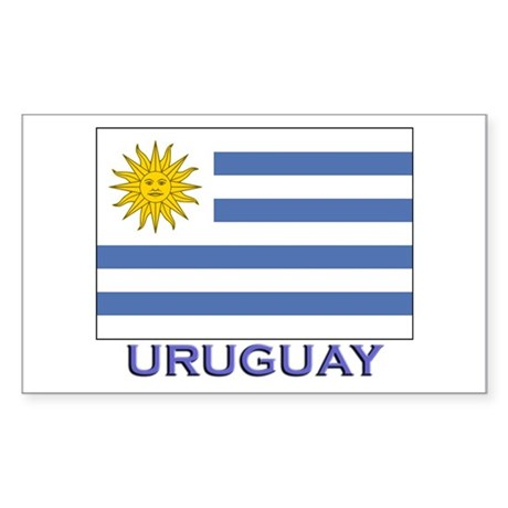 Uruguay Flag Gear Rectangle Sticker