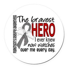 Bravest Hero I Knew Parkinsons Round Car Magnet