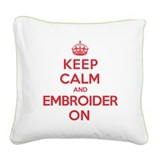 Keep Calm Embroider Square Canvas Pillow