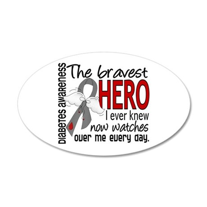 Bravest Hero I Knew Diabetes 20x12 Oval Wall Decal