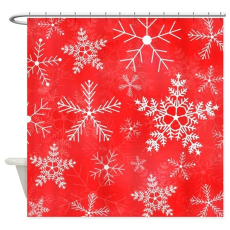 Red And White Snowflake Pattern Shower Curtain By Hippygiftshop