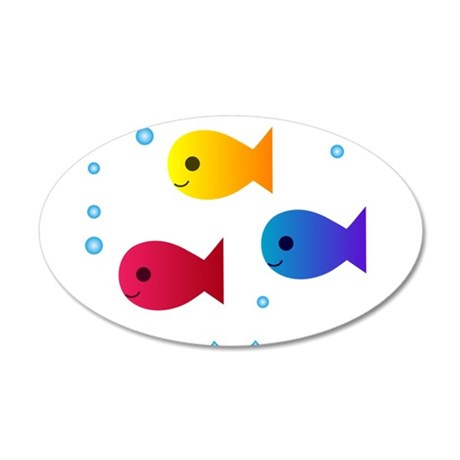 school of fish 20x12 Oval Wall Decal