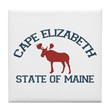 Cape Elizabeth ME - Moose Design. Tile Coaster