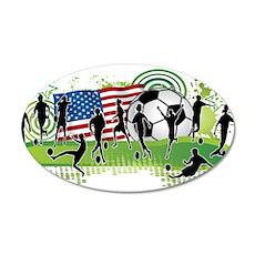 USA Women Soccer 20x12 Oval Wall Decal