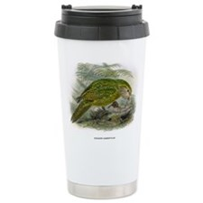 Illustration of Green Parrot Ceramic Travel Mug