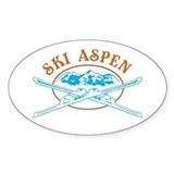 Aspen Crossed-Skis Badge Decal