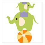 Elephants on a Ball Square Car Magnet 3